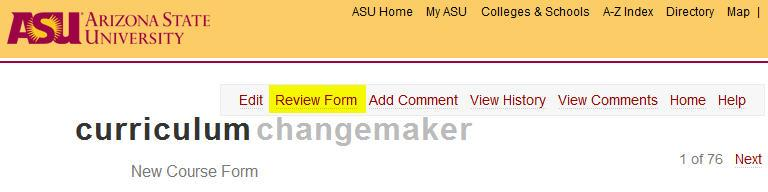 Submitting a Review - click on Review Form